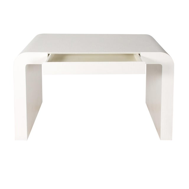 1970s Karl Springer Style White Grasscloth Waterfall Desk - Image 4 of 7