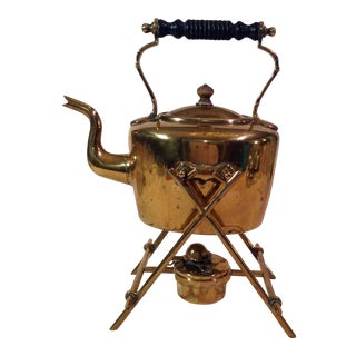Antique English Brass Teapot With Stand & Burner For Sale