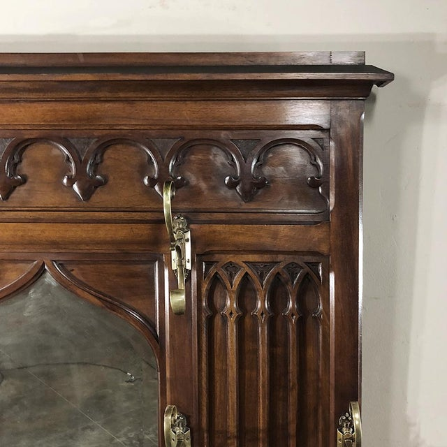 19th Century French Walnut Gothic Hall Tree For Sale - Image 4 of 12