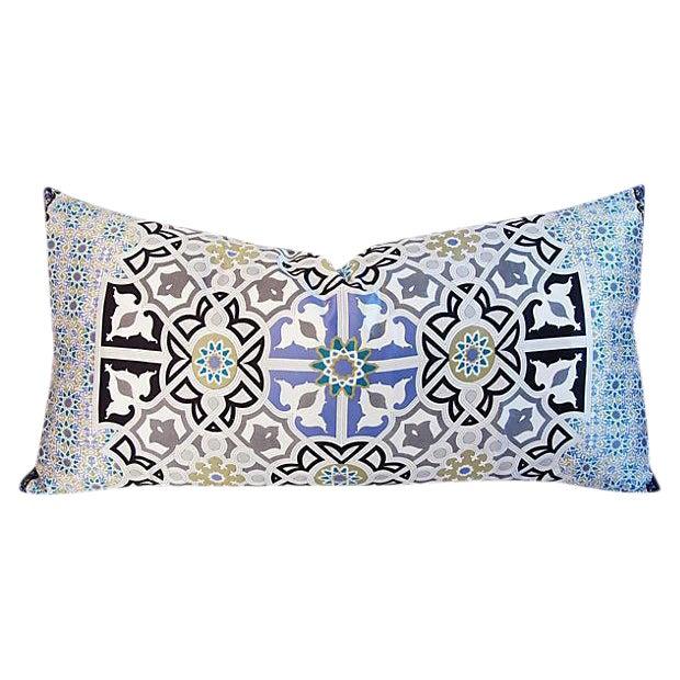 "Turquoise Jumbo Italian Silk Andalusian Moorish Feather/Down Lumbar Pillow 37"" X 18"" For Sale - Image 8 of 8"
