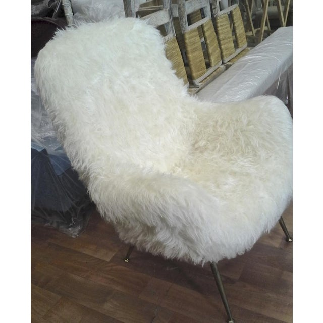 Gold Fritz Neth Pair of Comfy Lounge Chairs Newly Covered in Sheep Skin Fur For Sale - Image 8 of 9