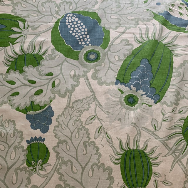 Green Christopher Farr Carnival Linen Fabric in Green and Blue -2 1/2 Yards For Sale - Image 8 of 10