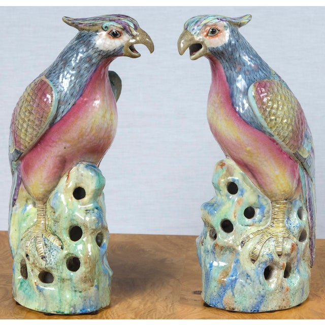 Large pair of vintage, heavy porcelain bird figurines with beautiful coloration. Finely painted bird forms with drip glaze...