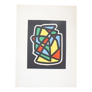 Vintage Mid 20th Century Abstract Lithograph-Ltd. Ed.-Listed French Artist-Emile Lahner For Sale