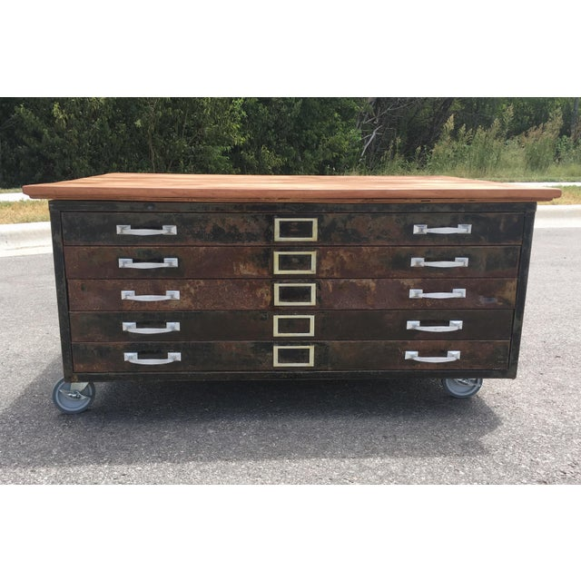 1980s Industrial Reclaimed Flat File Coffee Table For Sale - Image 13 of 13