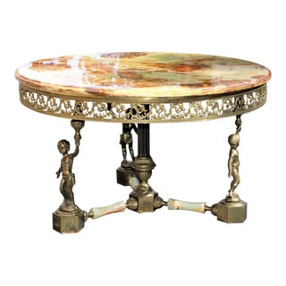 Monumental Maison Jansen Round Coffee or Cocktail Table With Onyx Top and Baby Base Bronze Circa 1940s For Sale