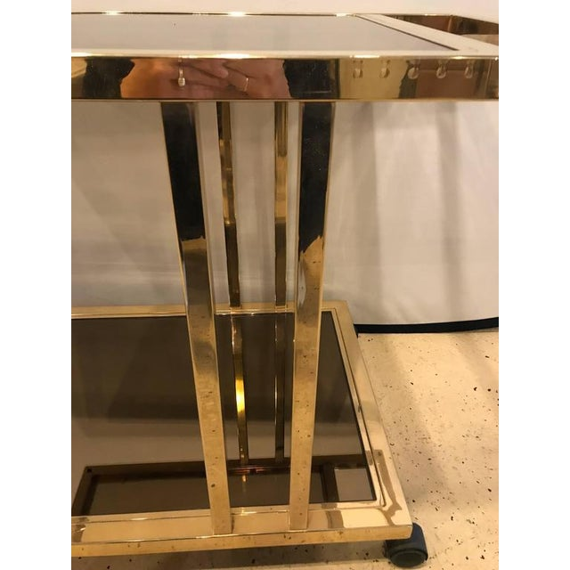 Gold Italian Brass and Smoked Glass Bar Cart For Sale - Image 8 of 9