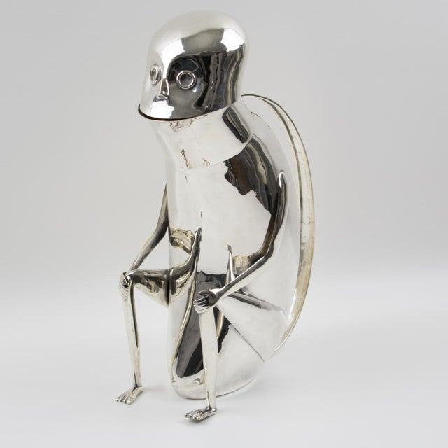 Los Castillo Los Castillo Silver Plate Metal Mexican Folk Art Monkey Pitcher For Sale - Image 4 of 13