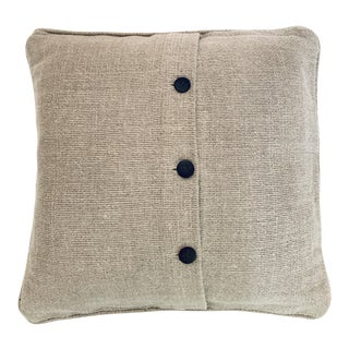 West Elm Linen Buttoned Square Pillow Cover For Sale