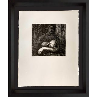 """Henry Moore - Hand Signed Lithograph Original"""" Lullaby Sleeping..."""" with frame For Sale"""