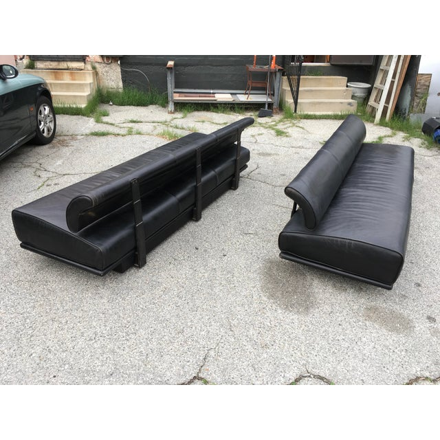 Italian Black Leather Sofas With Floating Back - a Pair For Sale - Image 4 of 13