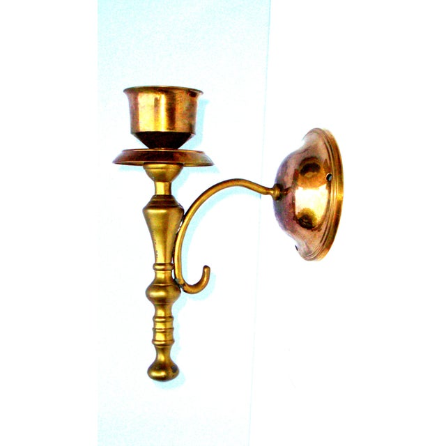 Victorian Gothic Regency Deco Brass Candle Sconces - Image 3 of 11