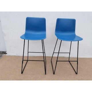 """Welling Ludvik Fredericia """" Pato Chair """" Blue Bar Stools - a Pair Preview"""