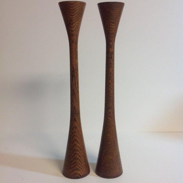 Danish Modern Walnut Candleholders - A Pair - Image 2 of 5