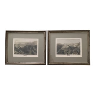 Reproduction 19th Century Lebanon & Lady Stanhope Residence (Djouni) Engravings - a Pair For Sale