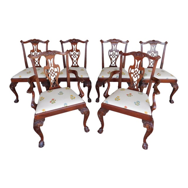 Quality Chippendale Style Mahogany Ball & Claw Foot Side Chairs - Set of 6 For Sale