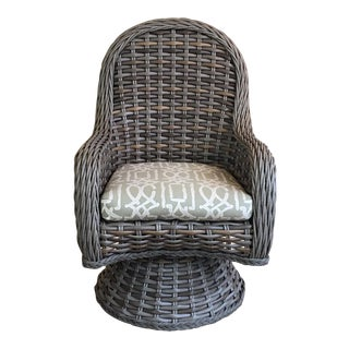 Lane Outdoor Wicker Swivel Dining Chair Showroom Sample