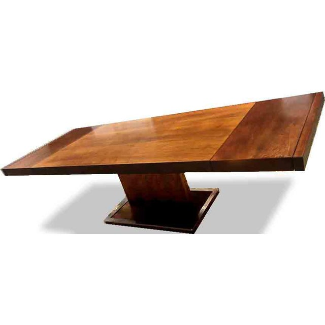 Hollywood Regency 1970s Hollywood Regency Milo Baughman for Founders Walnut Extension Dining Table For Sale - Image 3 of 12
