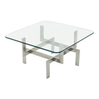 Brushed Steel Paul Legeard Square Coffee Table 1970s For Sale