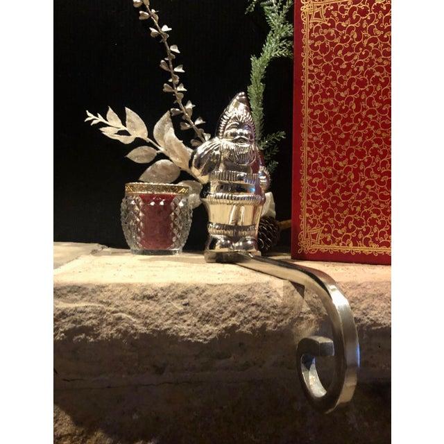 Vintage Silver Plated Christmas Santa Hook Stocking Holder For Sale - Image 4 of 9