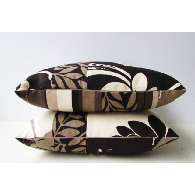 Cotton Romo Black & White Modern Floral Pillow Covers - a Pair For Sale - Image 7 of 8