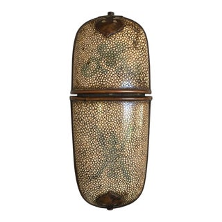 Chinese Beige Shagreen Brass Mounted Eyeglass Case, Early 20th Century For Sale