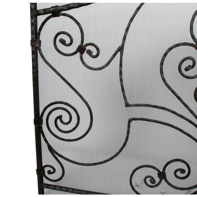 1970s Handmade Wrought Iron Fireplace Screen For Sale - Image 5 of 9