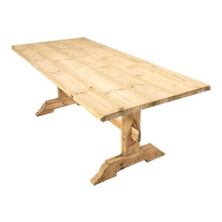 Antique Rustic Pine Trestle Table For Sale