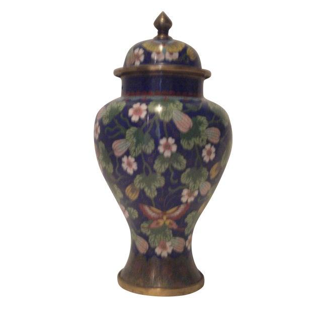 Cobalt Blue Cloisonne Covered Ginger Jar - Image 1 of 11