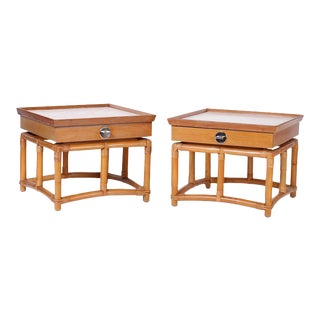 Midcentury Bamboo End Tables - A Pair For Sale