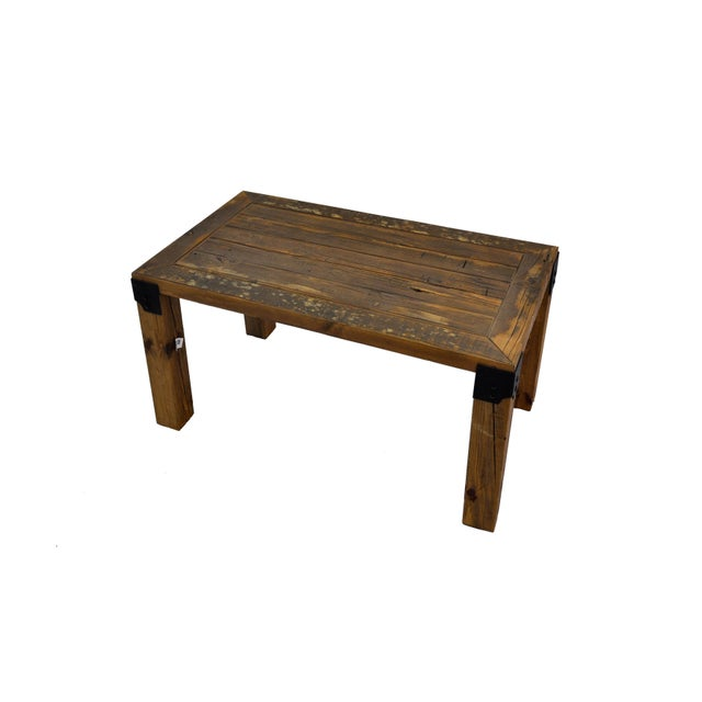 Reclaimed Handmade European Imported Industrial Wood Coffee Table by DARVO For Sale - Image 4 of 6