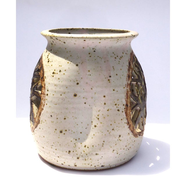 Vintage 1970s Pottery Reticulated Votive Holder - Image 4 of 6
