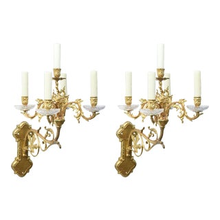Pair of Five Light Gilt Bronze Sconces For Sale