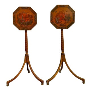 English Regency Red Lacquer Chinoiserie Candle Stands - A Pair For Sale