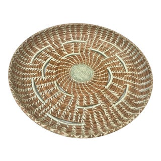 1980s Boho Chic Handwoven Pine Needle Basket For Sale