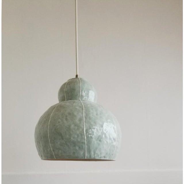 Contemporary Modern Handmade Celadon Ceramic Pendant Light For Sale - Image 3 of 7