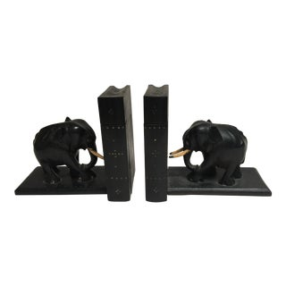 1930's Carved Elephant Bookends With Secret Compartments For Sale