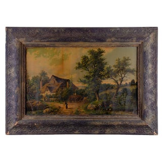 Late 19th Century Antique Pastoral Scene Lithograph Print For Sale