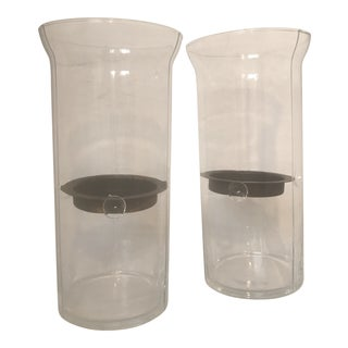 Large Contemporary Clear Glass Hurricane Candle Holders - a Pair For Sale