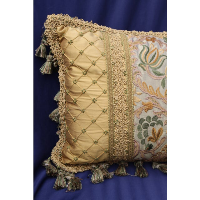 Italian 19 C. Italian Chair Cushion With Antique Fabric For Sale - Image 3 of 5