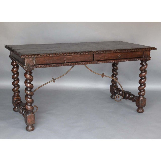 Custom Wood Writing Desk with Spiral Legs, Two Drawers and Iron Supports - Image 2 of 9