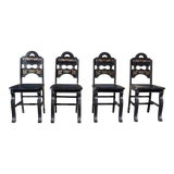 Image of Vintage Set of 4 Art Deco Black Painted Amish Folk Art Style Dining Chairs For Sale