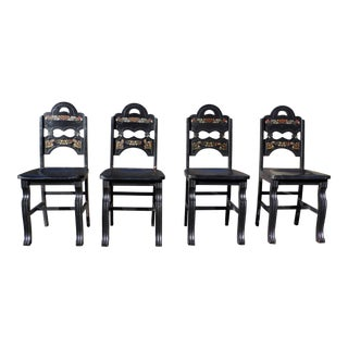 Vintage Set of 4 Art Deco Black Painted Amish Folk Art Style Dining Chairs For Sale
