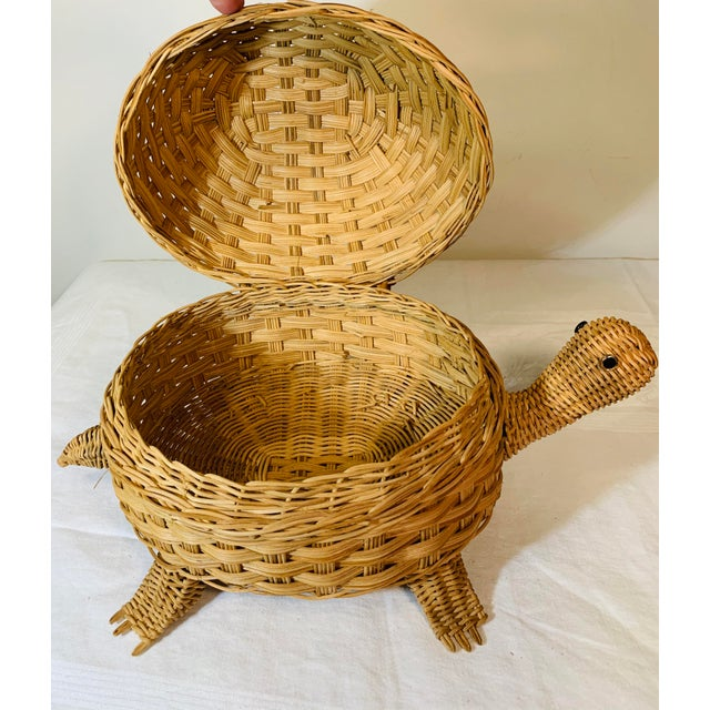 1970s Mid Century Modern Wicker Turtle Storage Box For Sale - Image 5 of 10