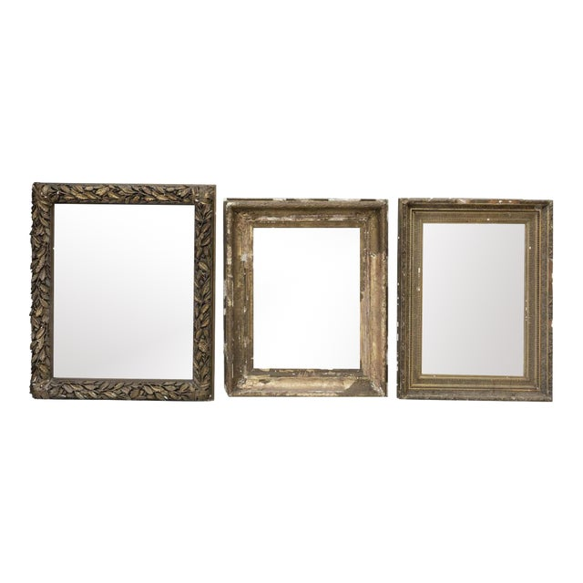 Large Distressed Antique Gold Giltwood Wood and Plaster Art Frames - Set of Three For Sale