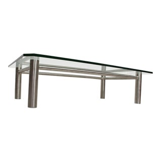 Modern Stainless Steel and Glass Coffee Table by Benchmark For Sale
