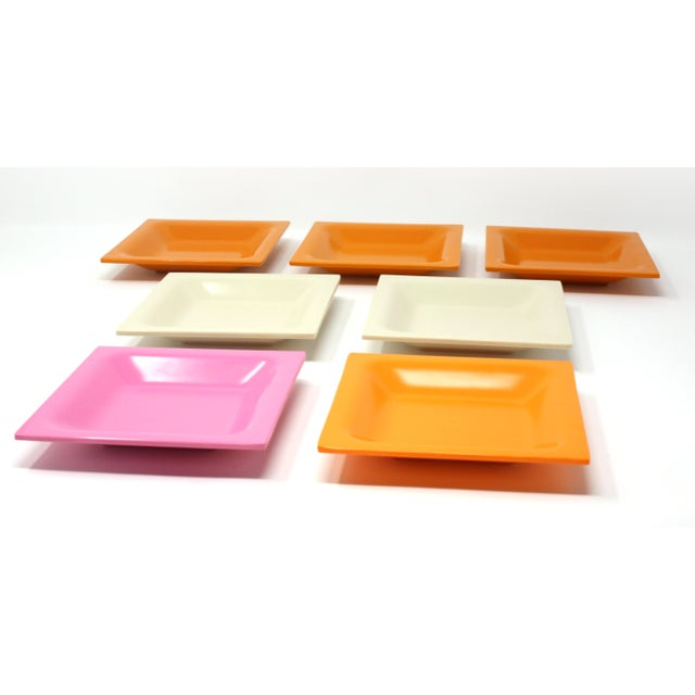 Mid-Century Modern Vintage Square Melamine Dishes - Set of 7 For Sale - Image 3 of 11
