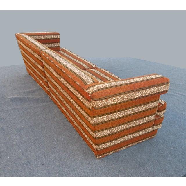 Mid-Century Modern Orange Stripped Sofa - Image 9 of 10