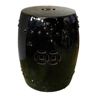 "Chinoiserie Black Porcelain Garden Stool 16.5"" H For Sale"