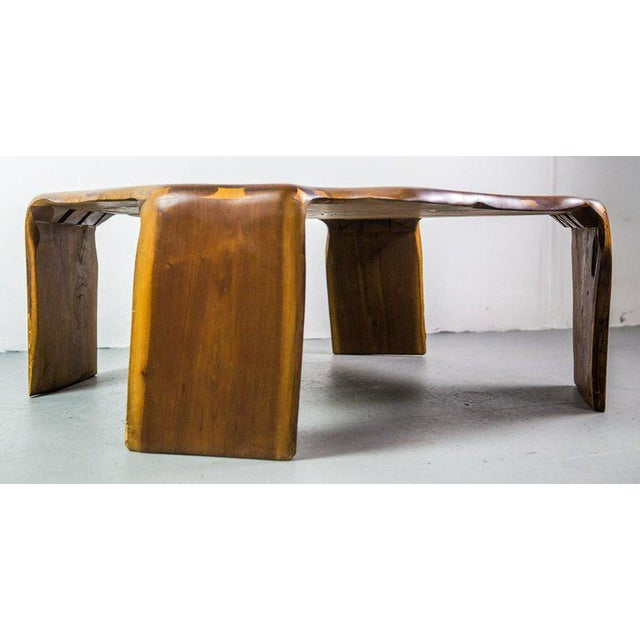Arts & Crafts One of a Kind James Monroe Camp Studio Coffee Table in Walnut Usa 1975 For Sale - Image 3 of 9